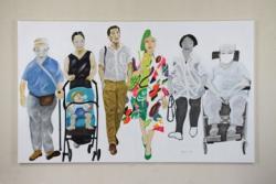 「6人Ⅱ」 素材:ボードに洋紙(キャンソン・ミ・タント)、アクリル樹脂絵具 制作年:2018年10月 サイズ:1800mm×2980mm