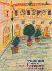 「フィレンツェのすてご養育美術館」 ネパール紙、水彩、ペン、マジック、インク