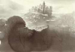 「森とお城の物語(ロック オブ キャシェル・アイルランド)」  2015 年/36.5×51cm/ 墨、紙