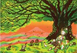 「夕焼けのメロディー」 2014年 木版画