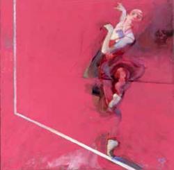 ロバート・ハインデル「Dancer on Carmine」ジクレー シルクスクリーン 49×50cm