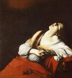 《法悦のマグダラのマリア》 ミケランジェロ・メリージ・ダ・カラヴァッジョ 1606年 油彩・カンヴァス  個人蔵