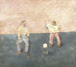 青山義雄《二人の男》1922年 油彩、カンヴァス 神奈川県立近代美術館蔵