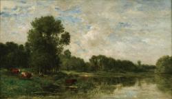 シャルル=フランソワ・ドービニー 《オワーズ河畔》 1865年頃 油彩/板 32.2×56.8㎝ ランス美術館 ©Christian Devleeschauwer