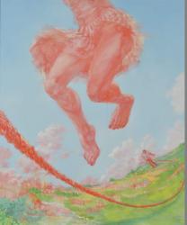 FACE2018グランプリ 仙石 裕美 《それが来るたびに跳ぶ 降り立つ地面は跳ぶ前のそれとは異なっている》 2017年 アクリル・油彩・キャンバス