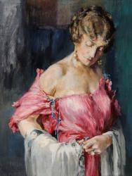 マリアノ・フォルチュニ《バラ色の衣装のための習作(アンリエット・フォルチュニ)》1932年  テンペラ/厚紙 フォルチュニ美術館 © Fondazione Musei Civici di Venezia - Museo Fortuny