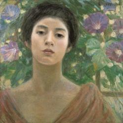[ 婦人と朝顔 ] 1904年 油彩、カンヴァス 個人像