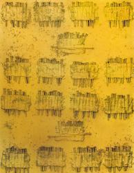 釘B'/1963年頃/釘、綿、砂、油彩/90.7x72.7cm