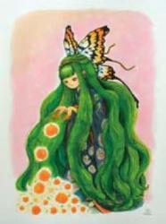 花・蝶・姫 インク画 2 0 1 1年
