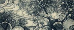 「藍色の風景ー時雨れ時ー」(12×29.5)cm エッチング、アクアチント