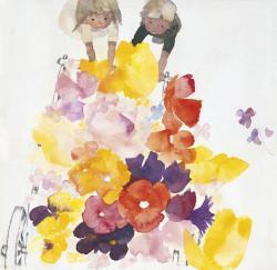 《はなぐるま》  絵雑誌『こどものせかい』1968年4月号 至光社 1967年 ちひろ美術館蔵