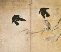 「烏梟図屏風」長谷川等伯 大阪市立美術館蔵