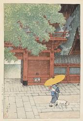 《東京十二題 五月雨ふる山王》大正8(1919)年, 木版・紙,36.3×24.2cm, 荒井寿一コレクション