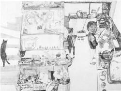 石井礼子《私の周囲( マイキッチン)》1997年 52.0×211.5cm 平塚市美術館寄託