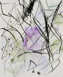 出品作品より「inner place」  水彩・フェルトペン・メディウム・紙 47×40㎝