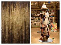 左:安田萌音作品「Inception」 右:西村卓作品(銀座蔦屋書店でのインスタレーション)