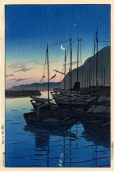 旅みやげ第三集 「別府の朝」 1928(昭和3)年作 36.3×23.8cm 木版画