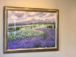 世良臣絵「富良野のラベンダー」油彩