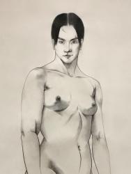 山岸千穂 「女」(部分)紙本墨画彩色