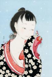 「春の女」 2021年、和紙に墨、アクリル、264mm×390mm