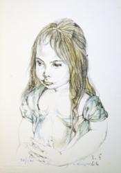 藤田嗣治「少女の肖像(君代夫人コレクション)」 1964年 リトグラフ