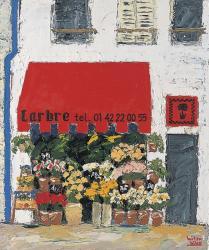 「赤の画家 笹尾光彦展」のみあり 「A Florist's in Paris」Carbre 油彩・キャンバス