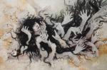 手綱笹乃 「言葉では伝えきれないから」2014 105×160cm 麻紙、岩絵の具、水干絵の 具、白土、銀箔