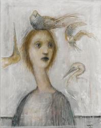 鏑木昌弥《鳥たちの頃》2005年 グワッシュ、紙 練馬区立美術館蔵
