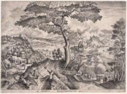 ピーテル・ブリューゲル《休息する兵士たち》(『大風景画』より) エッチング・エングレーヴィング・紙 1555-56年頃 神奈川県立近代美術館蔵