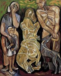 海老原喜之助《友よさらば》1951年 油彩、カンヴァス 当館蔵