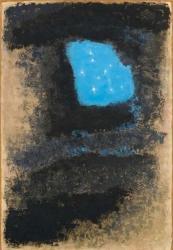 香月泰男 《青の太陽》 1969年 油彩、方解末、木炭、カンヴァス 山口県立美術館蔵 *シベリア・シリーズ