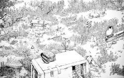 コヤマイッセー作「空き地の仙人(部分) / ケント紙にペン / 2019 / S50