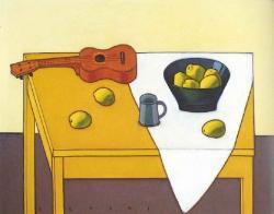 《ウクレレとかりんのある卓上静物》1999年 油彩・キャンバス 刈谷市美術館蔵
