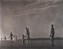 「走り行く人々」1971エッチング、アクアチント42.2×54.4cm