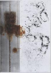 川島清「カーボン網目Ⅰ」2014年 水彩、色鉛筆、カーボン、紙41.0x29.0cm(撮影:椎木静寧)