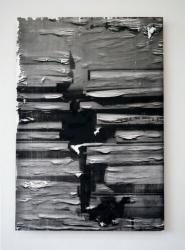 row - hon 2012  パラフィンを引いた紙にシルクスクリーン、バーナー  116.5×81.5×4.0cm