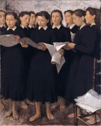 小磯良平《斉唱》1941 年 兵庫県立美術館蔵