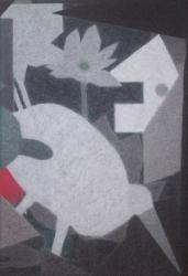 「蓮と鳥」 2017 岩絵具、墨、麻紙  130.3×89.4cm (P60)
