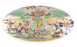 Tree of world-dialogue- 2020 / 600 x1200mm / 麻紙、箔、岩絵具、アクリル、パネル