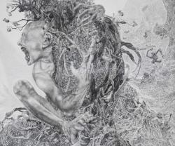 熊澤未来子「鬼の子の木」2015パネル、ジェッソ、鉛筆 454.6x545.4cm 写真:宮島径 ©KUMAZAWA Mikiko / Courtesy Mizuma Art Gallery