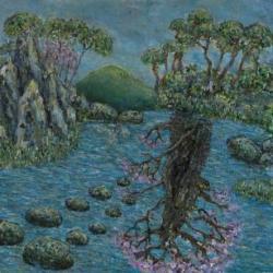 世界は同時に存在する 『庭』 455×455mm 木製パネルにアクリル絵具 2013年
