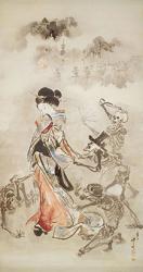 《美女の袖を引く骸骨たち》明治時代   ビーティヒハイム・ビッシンゲン市立博物館 *通期展示