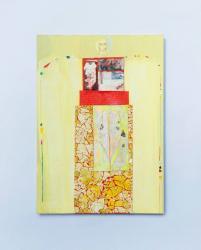 草のように、バラの香りをさせて 2020年  H29.7×W21cm 紙に水彩絵具、アクリル絵具、水性ペン、卵の殻