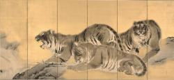 「猛虎図」(右隻) 岸竹堂、明治23年(1890)、株式会社 千總蔵、東京展:前期展示、京都展:後期展示