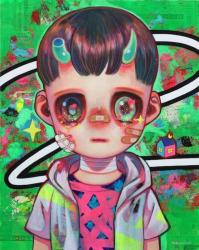 """下田ひかり/ Hikari Shimoda """"今を生きる#3 /Living Now #3"""" 2021, 91 x 72.7cm, acrylic, oil and newspaper on canvas"""