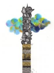 雲を抜ける塔
