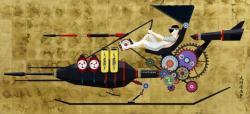 天明屋尚「ジャパニーズスピリット十七号機」2015 アクリル、箔、パネル 92x200cm ©TENMYOUYA Hisashi  Courtesy Mizuma Art Gallery