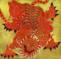 金子富之「大舞虎」2019 岩絵具、墨、透明水彩、アクリル、ペン、箔、吉祥麻紙 460×480cm ©KANEKO Tomiyuki Courtesy Mizuma Art Gallery