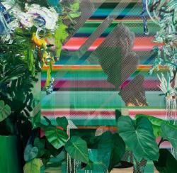"""吉田晋之介 """"植物のある部屋- 対岸の火事""""   2020 年 油彩、キャンバス  162.0 x 162.0cm ©Shinnosuke Yoshida"""