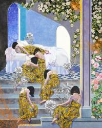 "大久保如彌| Naomi Okubo ""Please, I don't want to be awake…"" 2018, Acrylic on cotton cloth 152.4 x 121.9cm ©Naomi Okubo"
